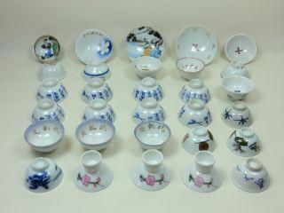 Antique Vintage 30 Japanese Pottery Sake Cups Sakazuki Good Condition Nr photo