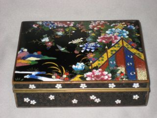 Vintage Japanese Cloisonne Hinged Enamel Box - Mid To Early 20th Century photo