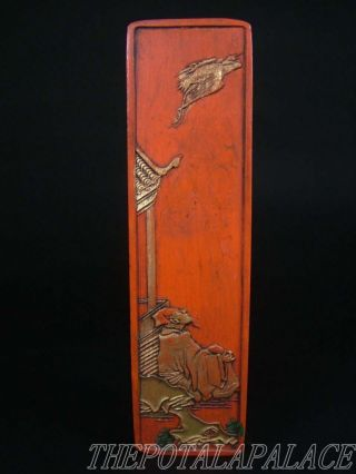 Old Chinese Cinnabar Made Inkstone Figure Looking Up At A Crane photo
