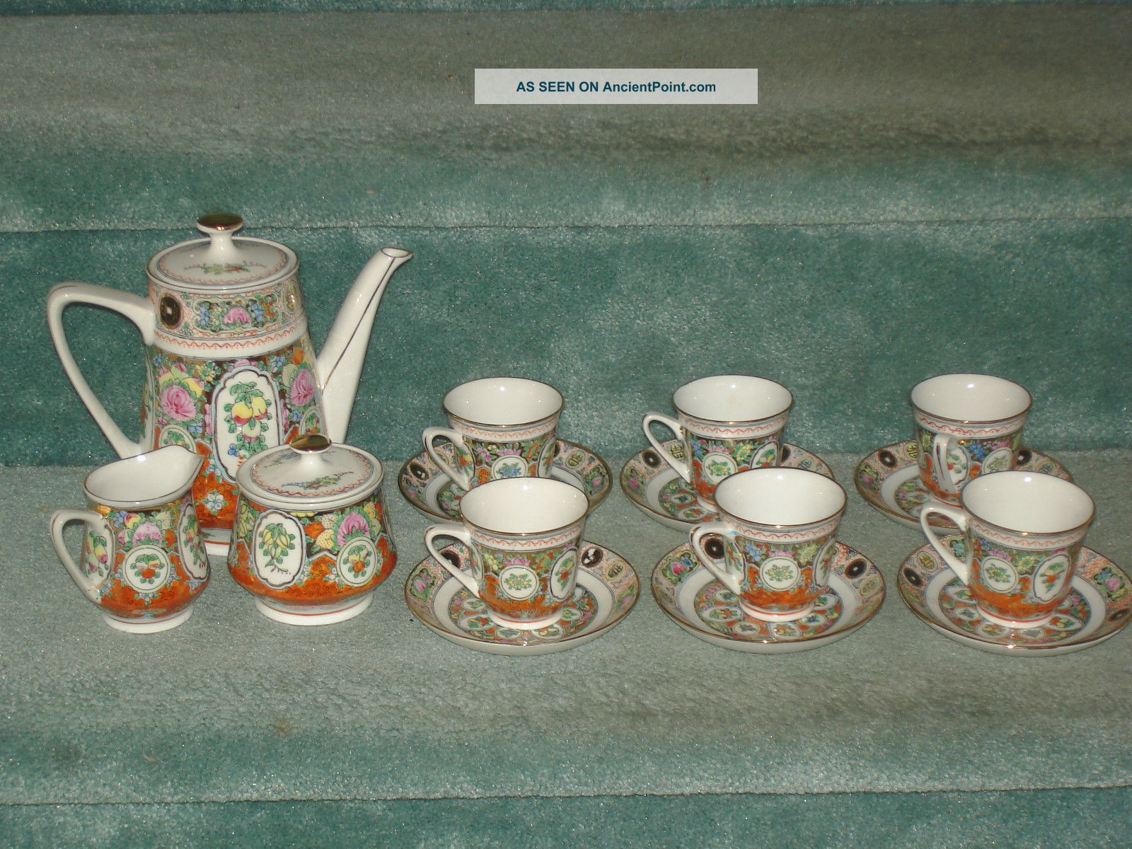 Vintage Chinese Fine China Teapot,  Sugar Bowl,  Creamer,  6 Cups With Saucers Teapots photo