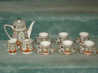 Vintage Chinese Fine China Teapot,  Sugar Bowl,  Creamer,  6 Cups With Saucers photo
