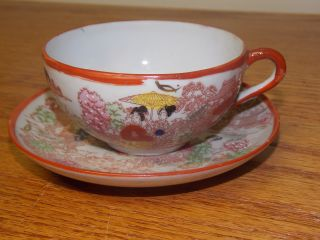 Vintage Geisha Hand Painted Cup And Saucer - Japan photo