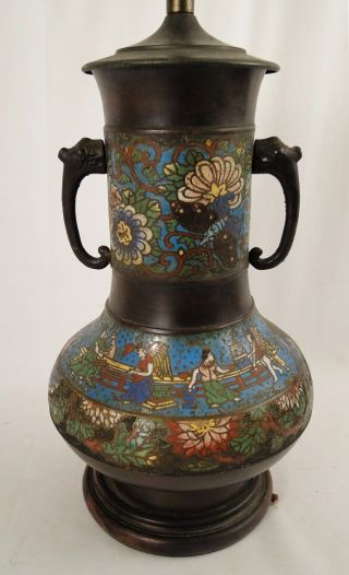 Antique Japanese 19c.  Bronze Champleve Enamel Vase Lamp photo