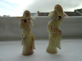 Pair Of Early Chinese Jade Figures photo