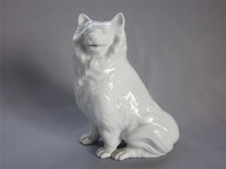 Japanese Arita Ware White Porcelain Statue W/sign By Seizan; Dog Figurine/ 904 photo