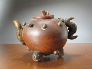 18th Or 19th C.  Yixing Zisha Chinese Teapot,  Pods And Applied Nuts photo