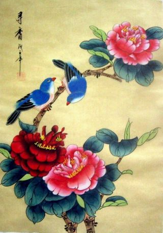Japanese Hand Painted Painting Flower & Birds @1016 photo