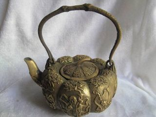 Chinese Teapot Bronze Carven Pumpkin Arabesqusite 07 photo