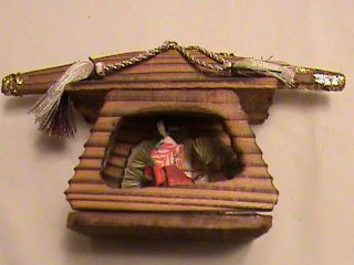 Antique Miniature Wood Architectural Model Japanese House & Geisha Girl photo