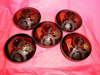 Antique Japanese 19 Black Lacquered Chawan Bowls Meiji 33 1900 Wooden Box photo