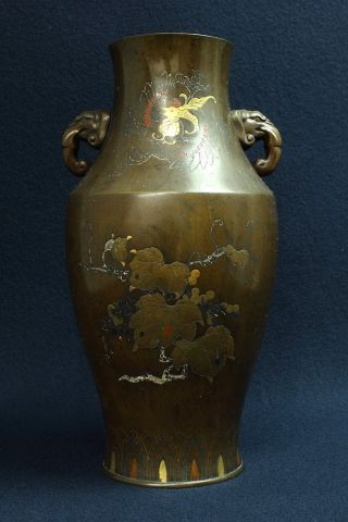 D338 Tl Japanese Antiques Inlay Vase