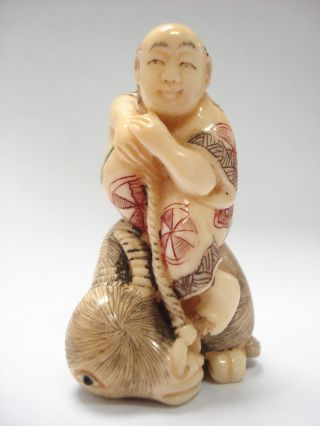 Antique Signed Japanese Netsuke Man Figurine Faux Hippo Ivory Tusk Ox Bone Nr photo