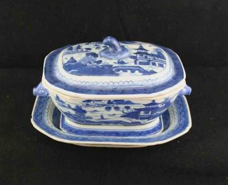 Antique Blue & White Canton China,  Export Porcelain - Gravy Tureen/stand (3 Pieces) photo