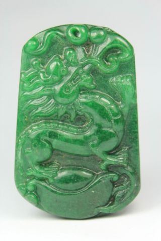 Chinese Handwork Carving Dragon Old Jade Pendant photo