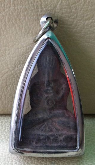 Holy Phra Pid Tar Win Obstacle Luck Success Rich Wealth Safe Charm Thai Amulet photo