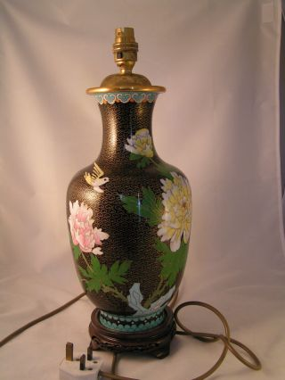 Large Vintage Chinese Cloisonne Table Lamp Base.  L@@k photo