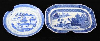 Antique Blue & White Canton China,  Export Porcelain - - Damaged: Plate & A Dish photo