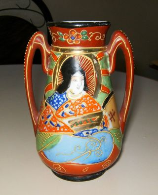 Vintage Japanese Vase Double Handled Moriage Satsuma Hand Painted photo