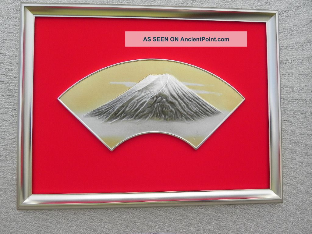 Japanese Framed Sterling Silver Majestic Mt.  Fuji In Relief By Takehiko Japan Nr Other photo