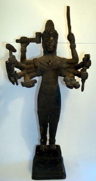 Stunning Large Standing Bronze Vishnu Statue,  Buddha From Angkor Wat Cambodia photo