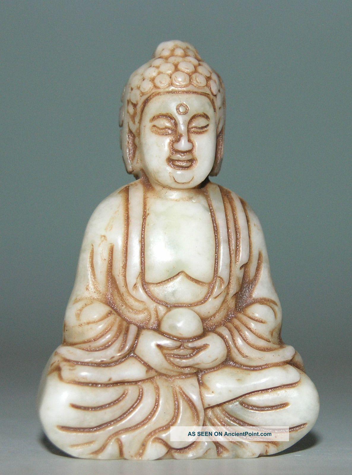 Ancient China Jade Chinese Hetian Jade Hand - Carved Jade Statue Buddha 2.  3inch Buddha photo