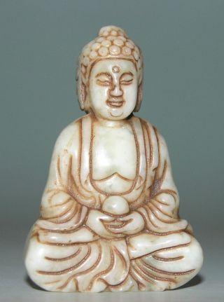 Ancient China Jade Chinese Hetian Jade Hand - Carved Jade Statue Buddha 2.  3inch photo