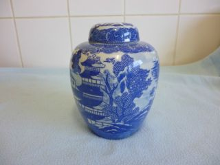 Japanese Dai Nippon Willow Pattern Blue And White Ginger Jar photo
