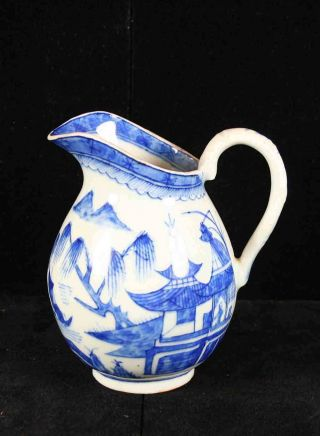 Antique Blue & White Canton China,  Export Porcelain - Scarce Upright Cream Pitcher photo