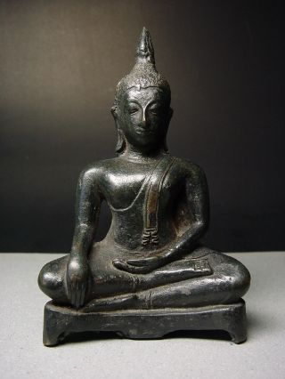 Antique Thai Bronze Meditating ' Sakyamuni ' Buddha,  Sukhothai Style photo