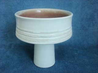 Japanese Ikebana Container,  Ivory & Golden Brown Compote,  Glazed Pottery photo