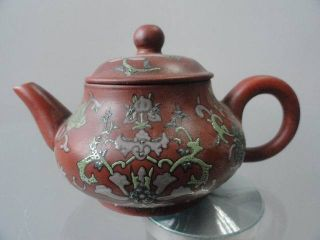 Chinese Yixing Teapot Pottery Old Overall Exquisite Flowers&arabesquitic Fancy photo