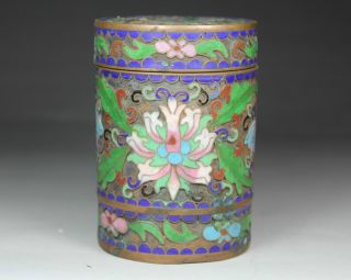 Chinese Old Cloisonne Handwork Painting Flower Tobacco Box photo