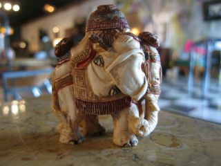 Antique Chinese Faux Ivory Ox Bone Carved Elephant Form Snuff Bottle photo