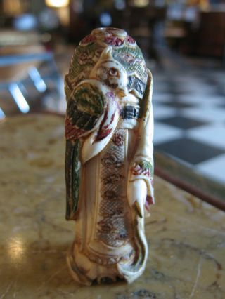 Antique Chinese Faux Ivory Ox Bone Guanyin Snuff Bottle Missing Stopper / Head photo