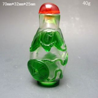Chinese Hand - Carved Glass Snuff Bottle - - - Bat Nr/pc2104 photo