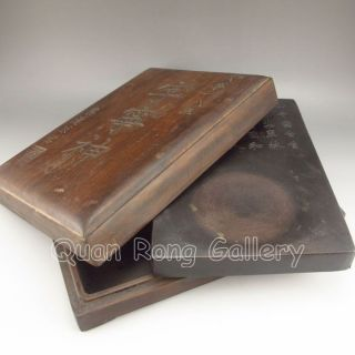 Chinese Chen Ni Inkstone & Hard Wood Box Nr photo