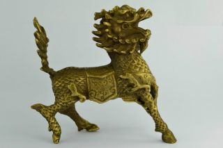 China Rare Collectibles Old Decorated Handwork Copper Hammered Kylin Statue ++++ photo