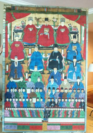 1800 ' S Antique Authentic Chinese Ancestral Portrait Painting Huge photo