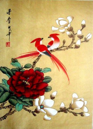 Japanese Hand Painted Painting Flower & Birds @1015 photo