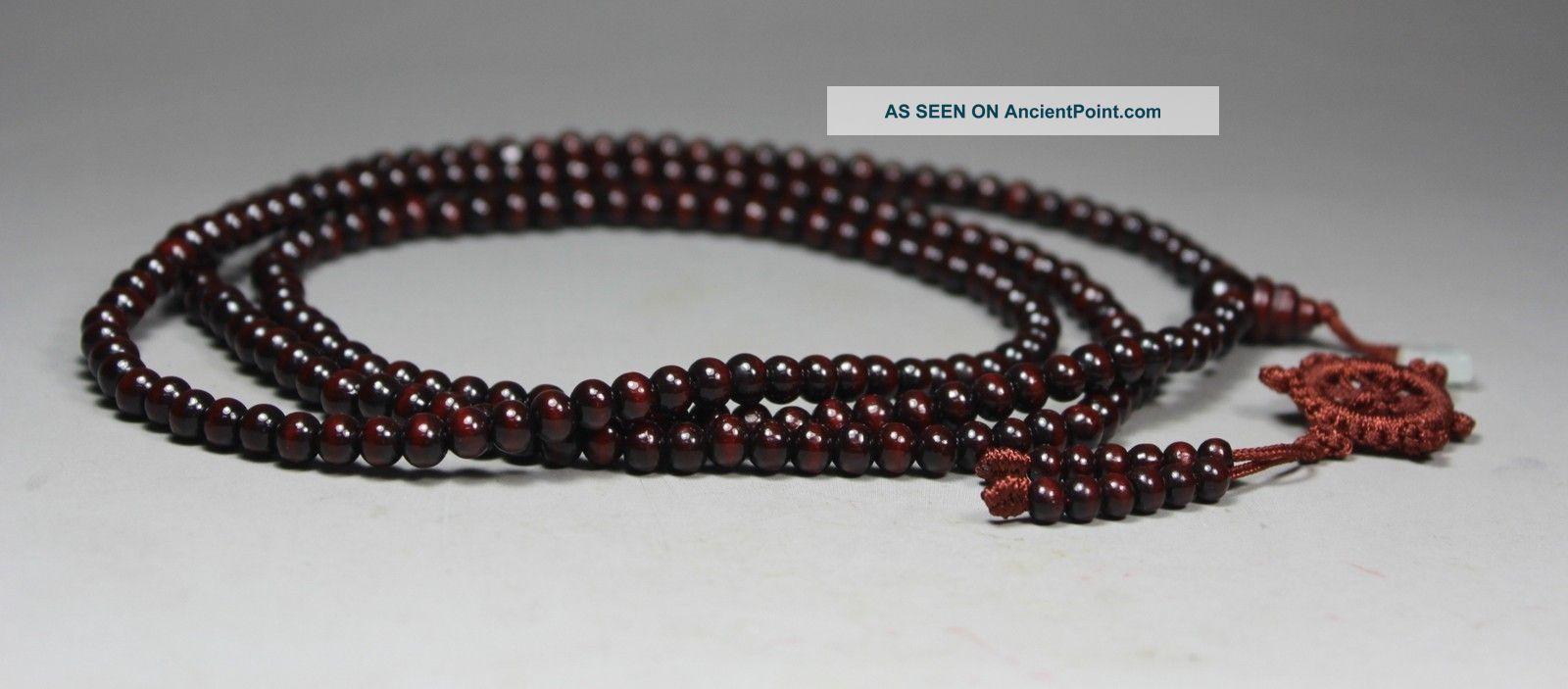 220 Beads Chinese Old Sandalwood/ Jade Handwork Buddha Beads Bracelet/ Necklace Buddha photo