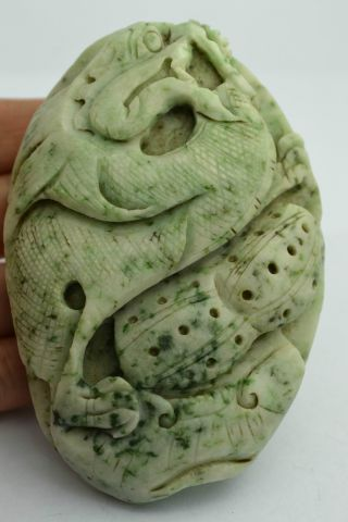 - China Collectible Old Handwork Wonderful Jade Carving Dragon Statue photo