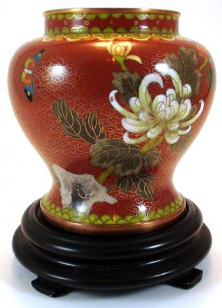 Chinese Cloisonne Vase On Wooden Stand 5 1/2 Tall Very Good Condition photo