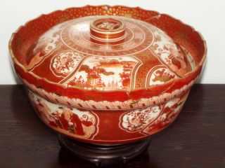 Museum Quality Koto - Yaki.  (kutani) Large Red Gilded Bowl And Cover 19th C photo