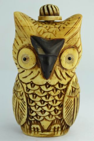 Asian Old Collectibles Decorated Wonderful Handwork Carving Owl Snuff Bottle photo