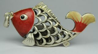 Chinese Handwork Copper Fish Old Pendant photo
