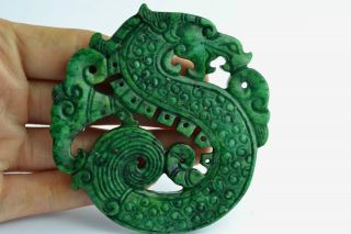 - China Collectibles Old Handwork Jade Carving Dragon Pendant photo