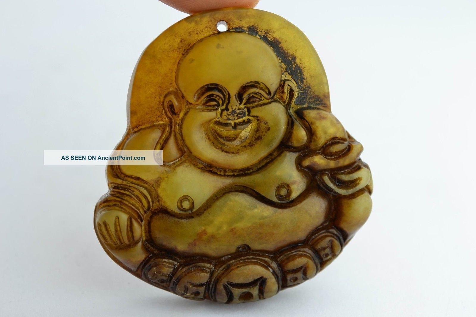 Asian Old Collectibles Decorated Handwork Jade Carving Exorcism Buddha Pendant Buddha photo