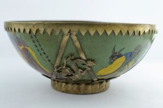 - China Collectibles Old Handwork Porcelain Armoured Dragon Bowl photo