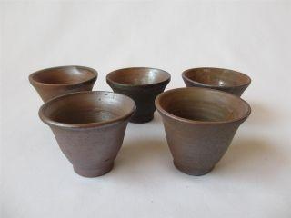 Japanese Bizen Ware Sencha Tea Cups 5set By Kodo Kamura; Tasteful/ 558 photo