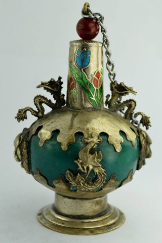 - China Collectibles Old Decorated Handwork Jade Dragon Snuff Bottle photo